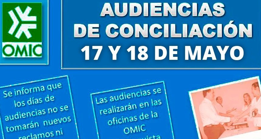 Audiencias de conciliación de mayo de OMIC