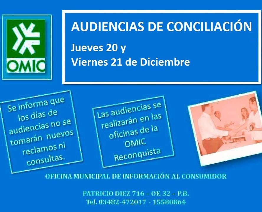Audiencias de conciliación en Reconquista