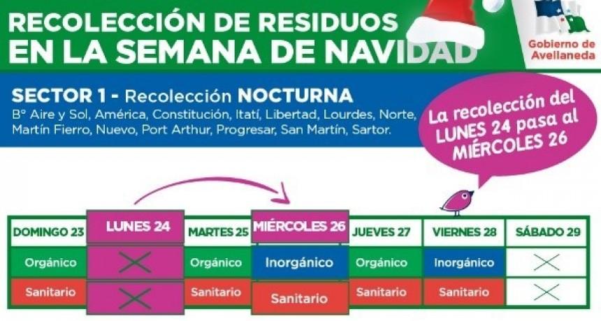 Cronograma de recolección de residuos para la semana de navidad en Avellaneda
